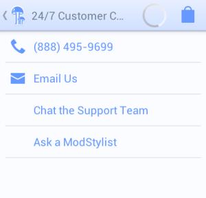 Customer service on menu on Android app
