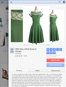 Item shown on the iPad app
