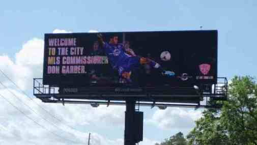Orlando City Soccer Billboard Don Garber visit