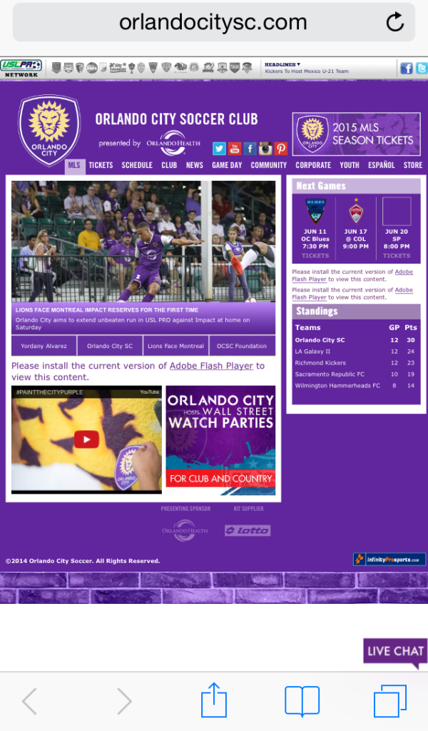 Orlando City Soccer Mobile version