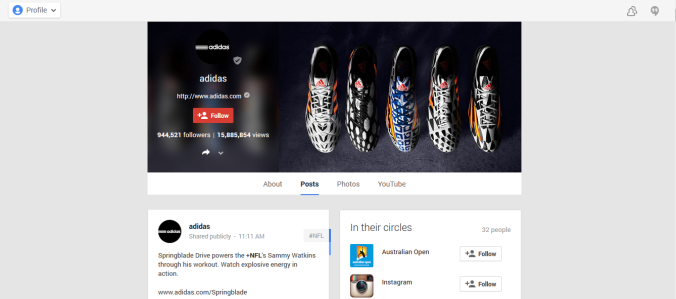 Adidas Google plus