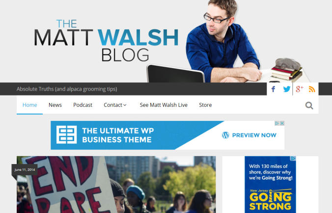 Matt walsh blog front page