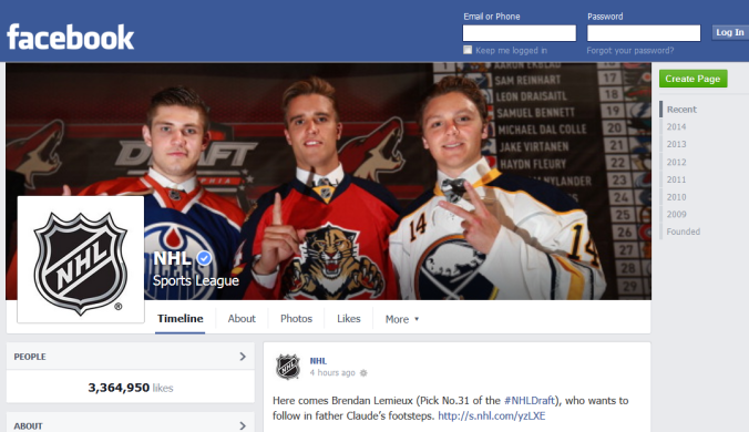 NHL Facebook