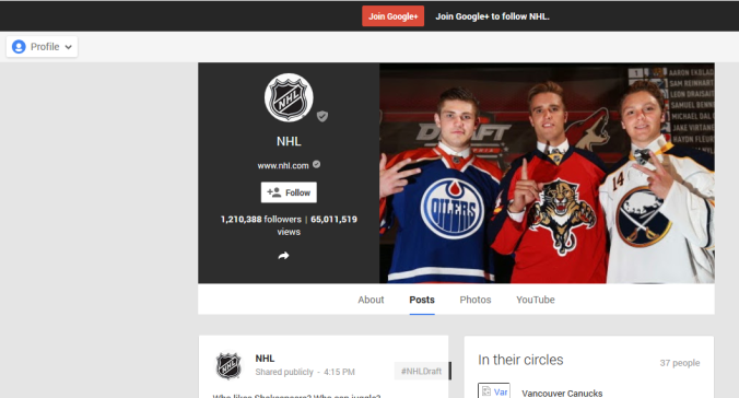 NHL Google plus