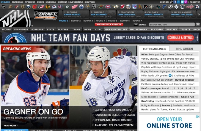 NHL website