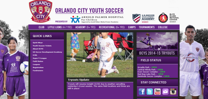 OCSC Youth Soccer webpage