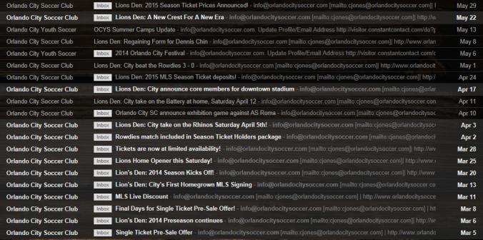 Orlando City Soccer emailss