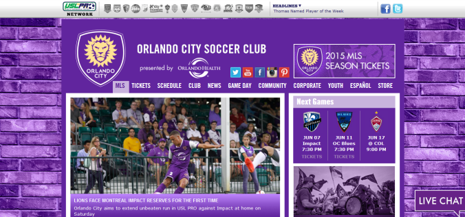 Orlando City Soccer webpage home page